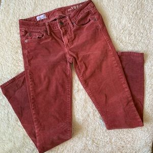 Red corduroy skinny pants from Gap